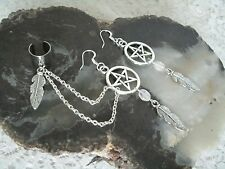 Moonstone Pentacle Earrings, wiccan pagan wicca witch witchcraft pentagram magic