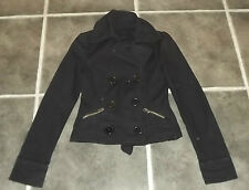 "LADIES BLACK BIKER STYLE JACKET DOUBLE BREASTED UK 8 EUR 36 CHEST 30"" 76cm"