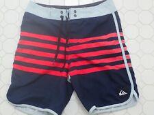 Boy's Quiksilver Navy, Red Stripe Scallop Leg Hem Boardshorts sz 26 12