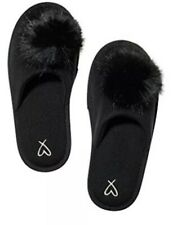 Victoria's Secret New Fuzzy Pom Pom Slippers Black Large Size 9/10