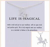 Unicorn Pendant Necklace Silver/Gold/Multi Kids Party Gift Costume Jewellery UK