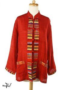 Vintage Oriental Jacket - Red w Colorful Trim - Mandarin Collar - M/L - Hey Viv