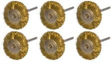 "6 PC 3/4"" MOUNTED WIRE BRISTLE ROTARY BRUSH BRASS STRAIGHT, 3/32"" MANDREL LOT"