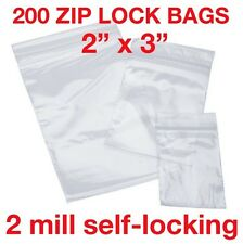 "200 PIECE 2"" X 3"" 2MIL ZIP LOCK POLY RECLOSABLE PLASTIC BAGS CLEAR SMALL BAGGIES"