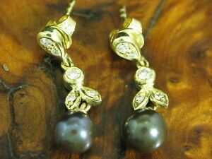 14kt 585 Yellow Gold Ear Studs With 0,20ct Brilliant & Akoya-Pearls Trim/Diamond