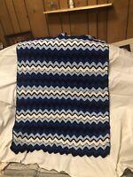 "Handmade Afghan Blanket Throw Blue White Chevron Zig Zag Striped Knit 38"" x 50"""