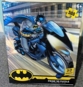 """New Prime 3D """"Batman and the Batcycle"""" 500 Piece Jugsaw  Puzzle `"""