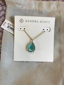 Kendra Scott Macrame Dee Aqua Illusion Gold Necklace
