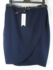 Sugarhill Alice Textured Tulip Skirt With Belt New With Tags - Navy - UK Size 8
