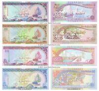 Maldives 5 + 10 + 20 + 50 Rufiyaa Set of 4 Banknotes 2006 - 2011  4 PCS  UNC
