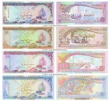 Maldive 5 + 10 + 20 + 50 rufiyaa Set di 4 banconote 2006 - 2011 4 PZ UNC