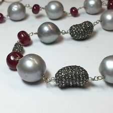 """Unique~Large South Sea Pearls~Natural Ruby Beads~Pave Diamond Beads~42"""" Necklace"""