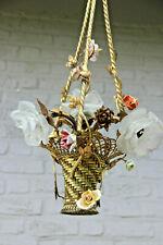 Antique French bronze porcelain flower basket chandelier shades tulip