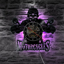 12'' Motorcycles Bikers Classic King Skull Vinyl Wall Clock LED Back Lighting