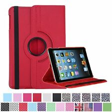 Apple iPad Mini 1 2 - Red 360° Rotating Stand Leather Case Cover with wake/sleep