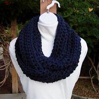 Solid Navy BIue Infinity Scarf Loop Cowl, Soft Lightweight Crochet Knit Winter