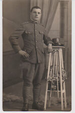 Postcard RPPC Real Photo Italian Military Soldier Boots Uniform Italy Rome Roma
