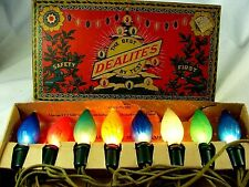 Antique Dealites Christmas Lighting Outfit c1925 Japan Pinecone Lamps - So Rare