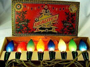 Antique Dealites Christmas Lighting Outfit c1925 Japan Pinecone C6 Lamps - RARE!