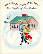 Vintage White & Wyckoff Anniversary 1940's Greeting Card Couple House Birds 3694