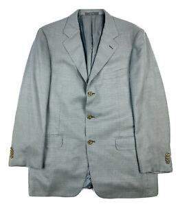 Ermenegildo Zegna Gray Blue Checked Wool Silk Mens Blazer Size 42R
