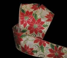 """5 Yards Christmas Gold Glitter Accented Red Poinsettia Ivory Wired Ribbon 2 1/2"""""""