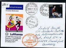 64801) LH FF Palermo Italien - Frankfurt 27.3.2011, So-Karte ab Vatikan