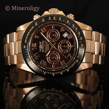 Men's Invicta Speedway 18k Rose Gold IP Black Brown Chronograph Tachymeter Watch