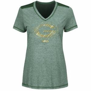 Green Bay Packers Bright Lights Tee Shirt Green Football NEW Womens Majestic NFL