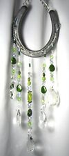 GORGEOUS Horseshoe Suncatcher W/ 5 Strands of Crystal/Mixed Green Glass Beads