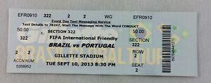 2013 09/10 Brazil vs. Portugal FIFA International Friendly Soccer Full Ticket