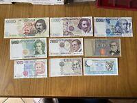 LOTTO 9 BANCONOTE LIRE 100000 CARAVAGGIO 50000 BERNINI 10000 VOLTA 5000 BELLINI