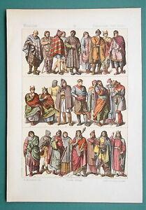 COSTUME France 700-1200 AD Franks Gallo-Romans - 1883 Color Litho Print