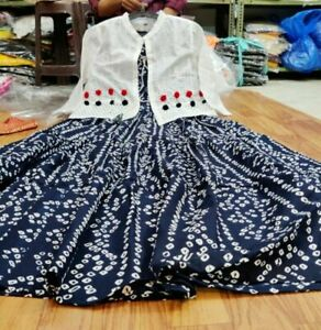Indian Flared Kurta Kurti Partywear Gown Designer Jacket Blue Anarkali Gown New
