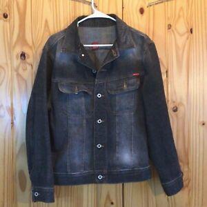 Men's Vintage GUESS Black Denim Jacket Button Up Size Small