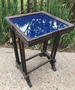 VTG Mid Century Modern Wood Blue Glass Top Display Side Table Black Painted