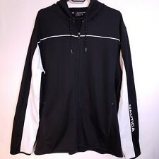 Nautica Competition Mens Size XL Full Zip Hoodie Sweater Jacket Black White