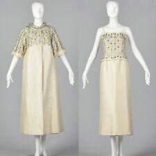 XS 1960s Long Spring Ivory Wedding Dress Opera Coat Beaded Bridal Gown 60s VTG