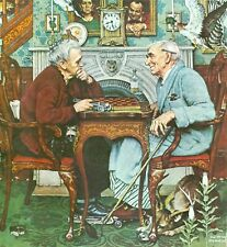 Mounted Print. Norman Rockwell. Checkers
