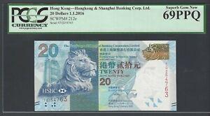Hong Kong 20 Dollars 1-1-2016 P212e Uncirculated Grade 69