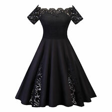 UK Womens Lace Off Shoulder Dress Evening Party Skater Dresses Cocktail Prom
