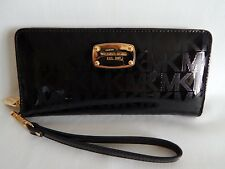 Michael Kors Jet Set Travel Continental Metallic Wallet in Black