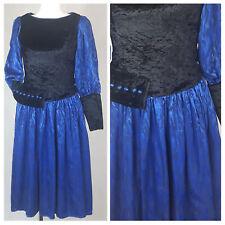 Vintage 80's Dress Black/Blue Prom Party Velvet Knee Length Fitted UK12 EU38