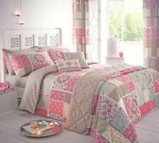 Dreams & Drapes SHANTAR Pink Moroccan Patchwork Curtains Duvet Cover Bedding Set