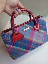 NESS Tweed Handbag Pink Turquoise Check tartan fabric red patent handles