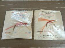 Vtg Lot of 2 Nip Miracle X Nylon Flies Fishing Lures Filipiak Bass Moth Mayfly