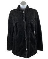 Carol Andersen Women's Small S Jacket Black Fleece Zip Button Up Long Sleeve