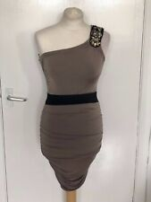 JANE NORMAN, UK 8, MOCHA ONE SHOULDER STRETCH SHORT/MINI DRESS, SEQUIN PRE-LOVED