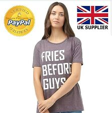 Only Womens T-Shirt Ladies Top Blouse Casual Shirt Fudge Funny Quote Size Large