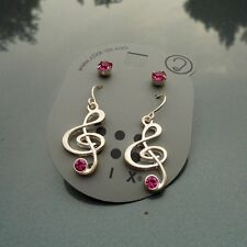 Set of 2 pairs silver coloured musical note and pink crystal earrings